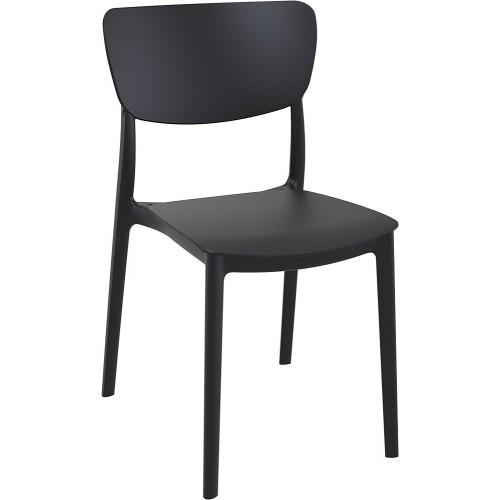 Stylowe Krzesło z tworzywa Monna czarne Siesta do stołu.