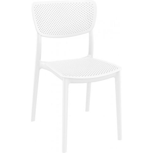 Nowoczesne Krzesło ażurowe z tworzywa Lucy białe Siesta do kuchni