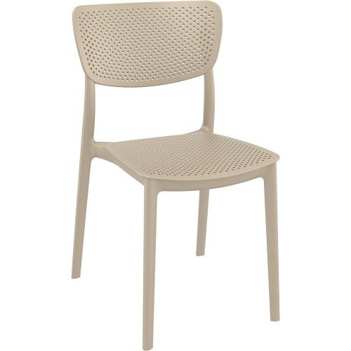 Nowoczesne Krzesło ażurowe z tworzywa Lucy beżowe Siesta do kuchni