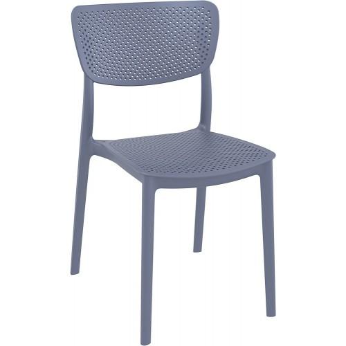 Nowoczesne Krzesło ażurowe z tworzywa Lucy ciemno szare Siesta do kuchni