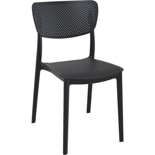 Nowoczesne Krzesło ażurowe z tworzywa Lucy czarne Siesta do kuchni