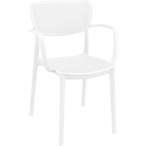 Nowoczesne Krzesło ażurowe z podłokietnikami Loft białe Siesta do kuchni