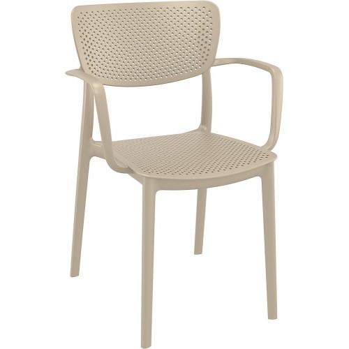 Nowoczesne Krzesło ażurowe z podłokietnikami Loft beżowe Siesta do kuchni