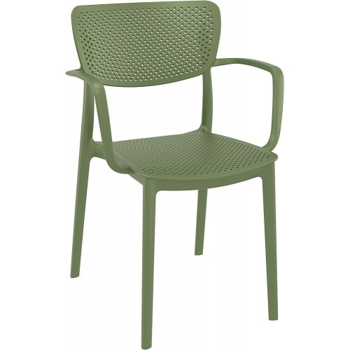 Nowoczesne Krzesło ażurowe z podłokietnikami Loft oliwkowe Siesta do kuchni