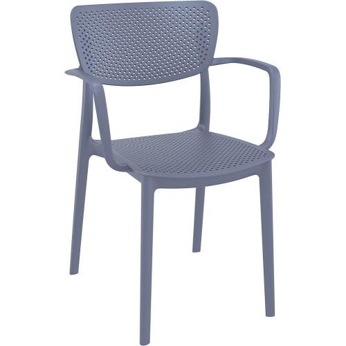 Nowoczesne Krzesło ażurowe z podłokietnikami Loft ciemno szare Siesta do kuchni