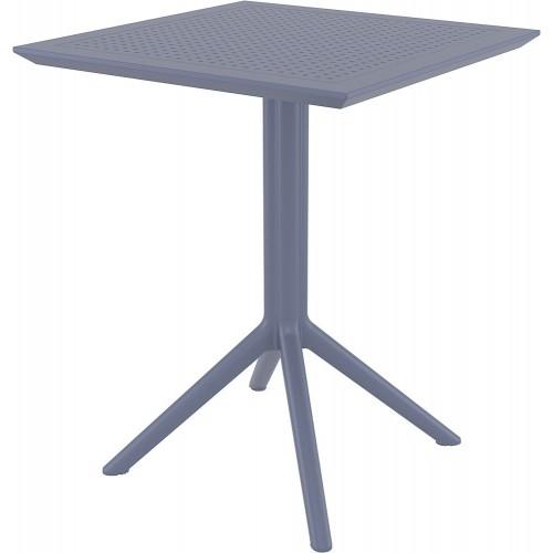 Składany stół ogrodowy plastikowy Sky 60x60 ciemno szary Siesta