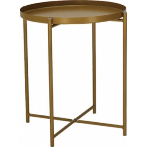 Nowoczesny Stolik boczny okrągły Moss Złoty MaloDesign do salonu