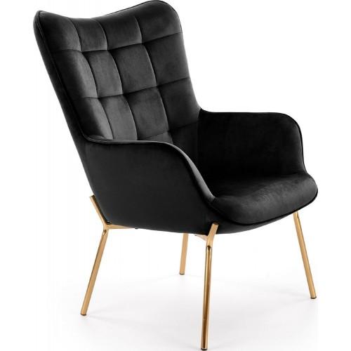 Fotel wypoczynkowy Castel Gold czarny Halmar do salonu