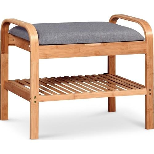 Ławka z półką na buty i siedziskiem ST-12 Bambus/Popiel Halmar do przedpokoju.