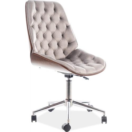 Fotel gabinetowy pikowany Arizona Velvet szary/orzech Signal do biurka.