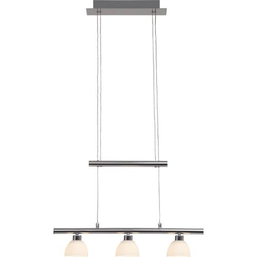 Stylowa Lampa wisząca szklana podłużna Tonja III Led Chrom/Biała Brilliant nad stół