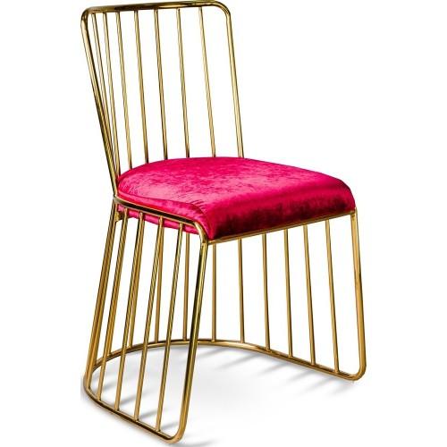 Stylowe Krzesło welurowe glamour na złotej podstawie Fiji czerwone Gilli do kuchni i jadalni.