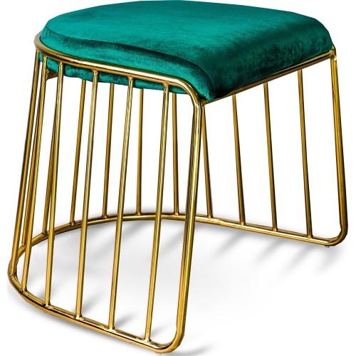 Stylowy Stołek druciany glamour Fiji złoto-zielony Gilli do salonu