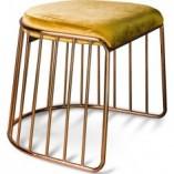 Stylowy Stołek druciany glamour Fiji złoto-żółty Gilli do salonu
