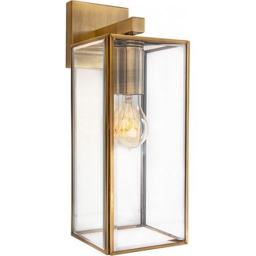 Kinkiet szklany retro Strike przezroczysto-mosiężny do sypialni i salonu.