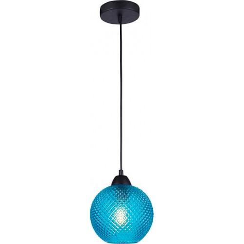 Stylowa Lampa wisząca szklana kula Boll 18 niebieska do kuchni i salonu.