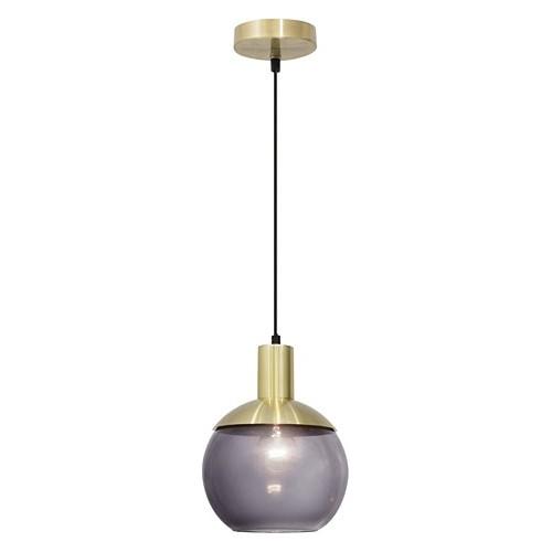 Dekoracyjna Lampa wisząca szklana kula retro Odessa 20 szkło dymione/mosiądz do salonu, kuchni i sypialni.