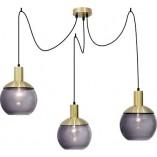 Stylowa Lampa wisząca szklane kule Odessa szkło dymione/mosiądz do kuchni i salonu.