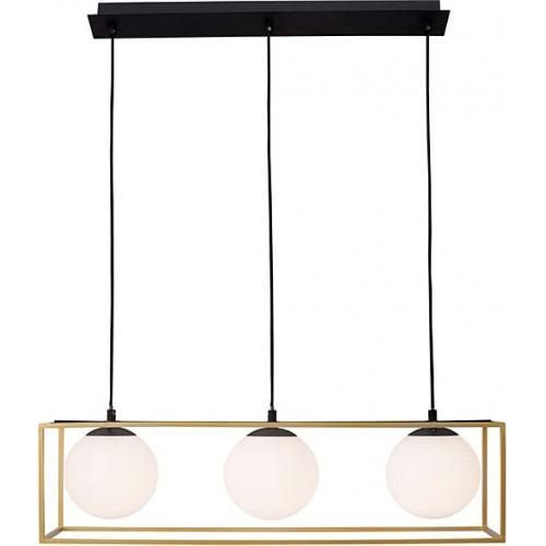 Lampa wisząca szklane kule glamour Stella III mosiężno-biała do salonu i jadalni.