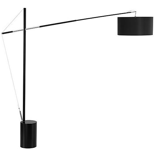Lampa podłogowa regulowana z abażurem Hellen czarna do salonu i sypialni.
