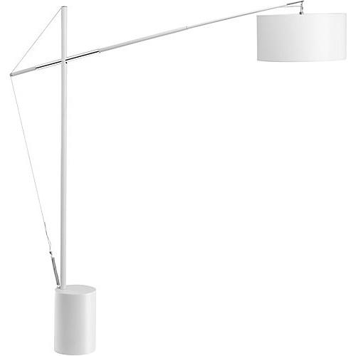 Lampa podłogowa regulowana z abażurem Hellen biała do salonu i sypialni.