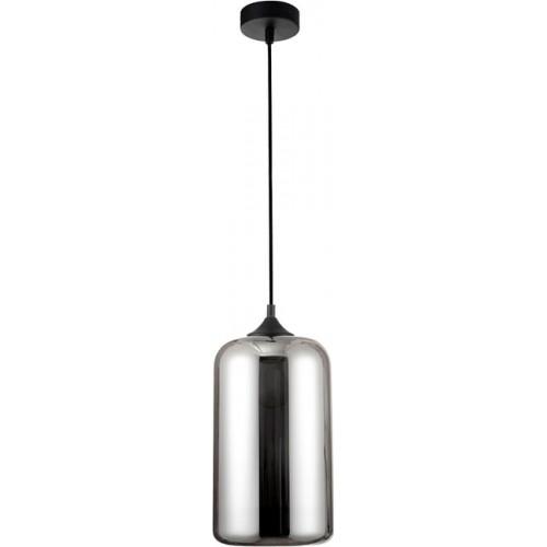 Lampa wisząca szklana nowoczesna Zandor 17 szary/chrom do jadalni i salonu.