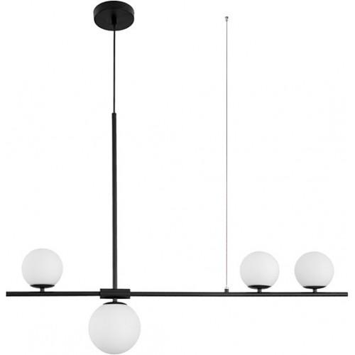 Stylowa Lampa wisząca szklana podłużna Bola 100 biało-czarna do kuchni i salonu.