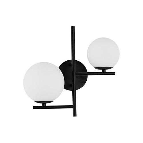 Stylowy Kinkiet podwójny szklane kule Bola biało-czarny do sypialni i salonu.