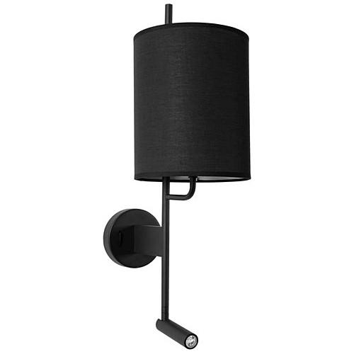 Stylowy Kinkiet z abażurem i lampką do czytania Manaya czarny do sypialni i salonu.