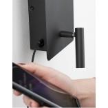Stylowy Kinkiet regulowany z lampką i usb Teo LED czarny mat do sypialni i salonu.