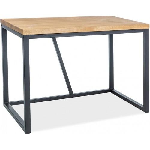 Biurko drewniane industrialne Silvio 110 dębowo-czarne Signal do pokoju i gabinetu.