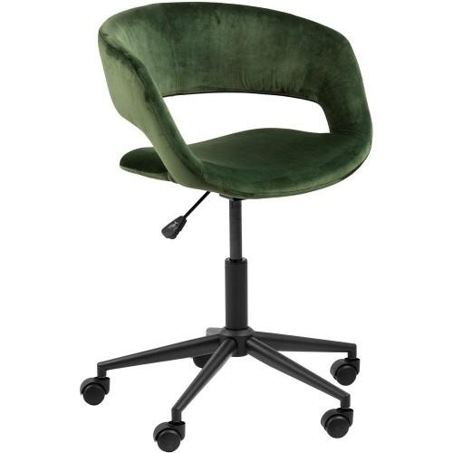 Krzesło biurowe welurowe Grace VIC zielone Actona do gabinetu domowego i biura.