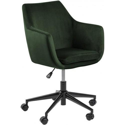 Krzesło biurowe welurowe Nora VIC zielone Actona do gabinetu domowego i biura.