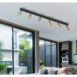 Regulowany Reflektor kierunkowy 6 punktowy Top złoto-czarny TK Lighting do kuchni i przedpokoju.