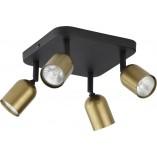Regulowany Reflektor kierunkowy 4 punktowy Top złoto-czarny TK Lighting do kuchni i przedpokoju.