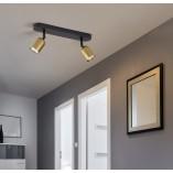 Regulowany Reflektor kierunkowy podwójny Top złoto-czarny TK Lighting do kuchni i przedpokoju.