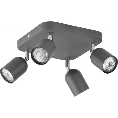 Regulowany Reflektor kierunkowy 4 punktowy Top szary TK Lighting do kuchni i przedpokoju.