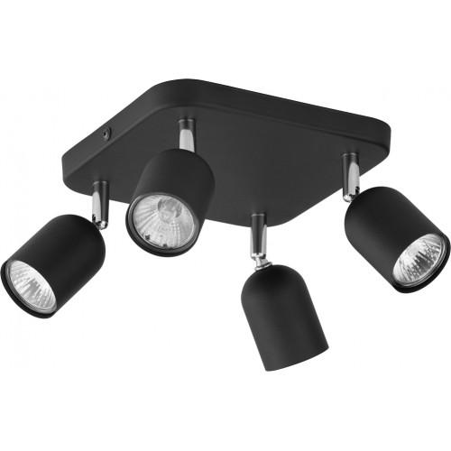 Regulowany Reflektor kierunkowy 4 punktowy Top czarny TK Lighting do kuchni i przedpokoju.
