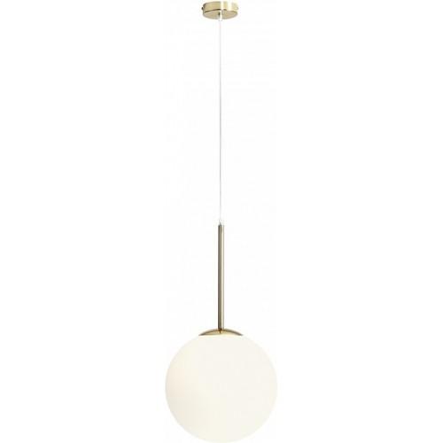 Stylowa Lampa wisząca szklana kula Bosso 30 biało-złota Aldex do kuchni i salonu.