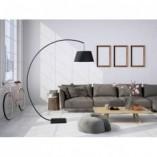 Lampa łukowa podłogowa z abażurem Celia czarna MaxLight do salonu i sypialni.