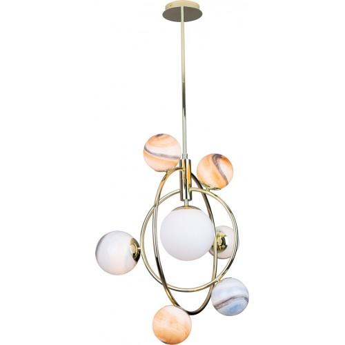Lampa wisząca nowoczesna Cosmos 64 multikolor/złoty MaxLight do salonu i holu.