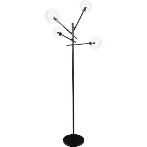 Lampa podłogowa szklane kule Lollipop przezroczysto-czarna MaxLight do salonu i sypialni.