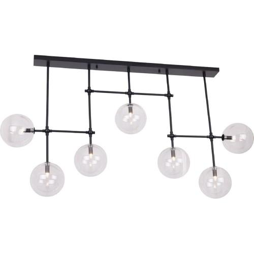 Stylowa Lampa sufitowa szklane kule Lollipop przezroczysto-czarna MaxLight do kuchni i salonu.
