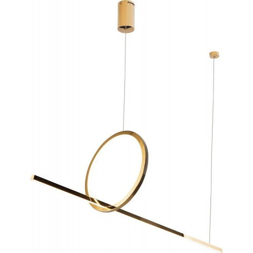 Lampa wisząca podłużna glamour Lozanna 100 LED złota MaxLight do salonu i jadalni.