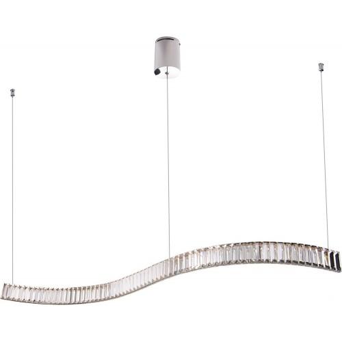 Lampa wisząca podłużna glamour Saphir 144 LED chrom MaxLight do salonu i jadalni.