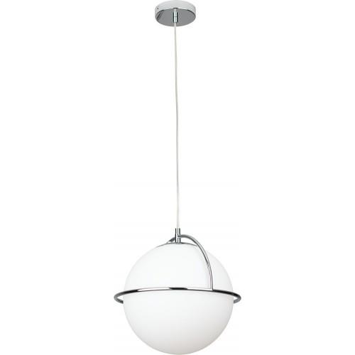 Stylowa Lampa szklana wisząca kula Saturn 34 biało-chromowana MaxLight do kuchni i salonu.