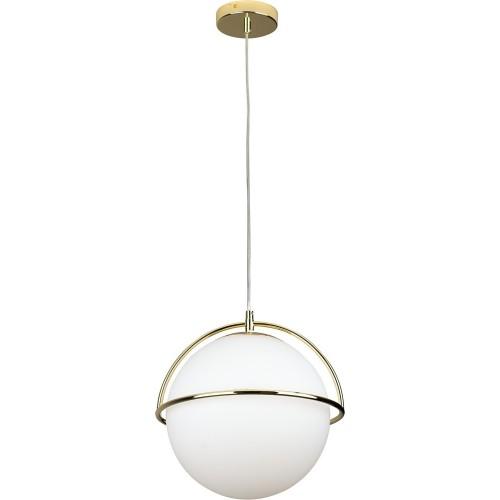 Stylowa Lampa szklana wisząca kula Saturn 34 biało-złota MaxLight do kuchni i salonu.