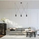 Stylowa Lampa wisząca potrójna punktowa Sistema 80 czarna MaxLight do kuchni i salonu.