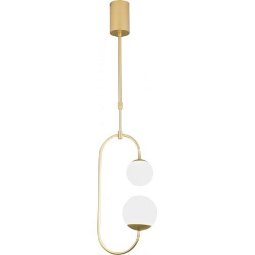 Lampa wisząca szklana podwójna glamour Toro LED złota MaxLight do salonu i jadalni.