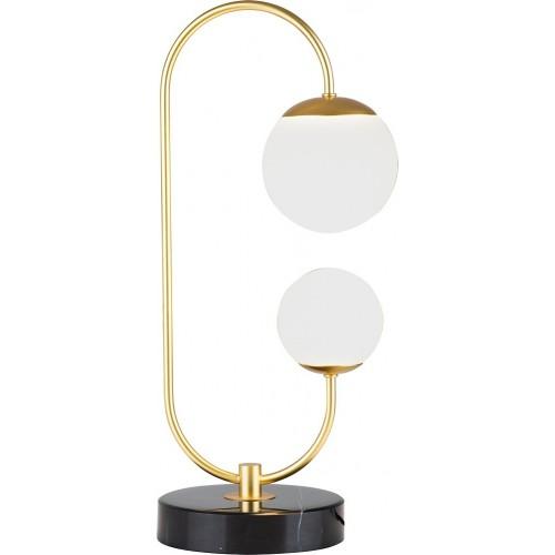 Lampa stołowa szklana glamour Toro LED biało-złota MaxLight do salonu lub na szafkę w sypialni.
